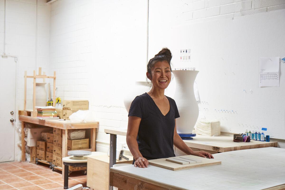 Artist Shio Kusaka in her studio. Photo by Manfredi Gioacchini