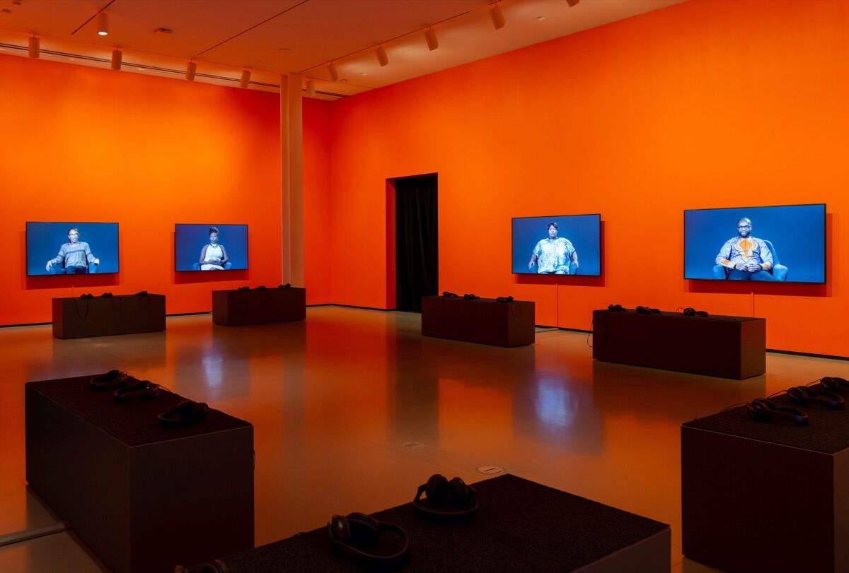 """Installation view of """"Candice Breitz: Too Long, Didn't Read"""" at The Baltimore Museum of Art, March 2020. Photo by Mitro Hood. Courtesy of The Baltimore Museum of Art."""