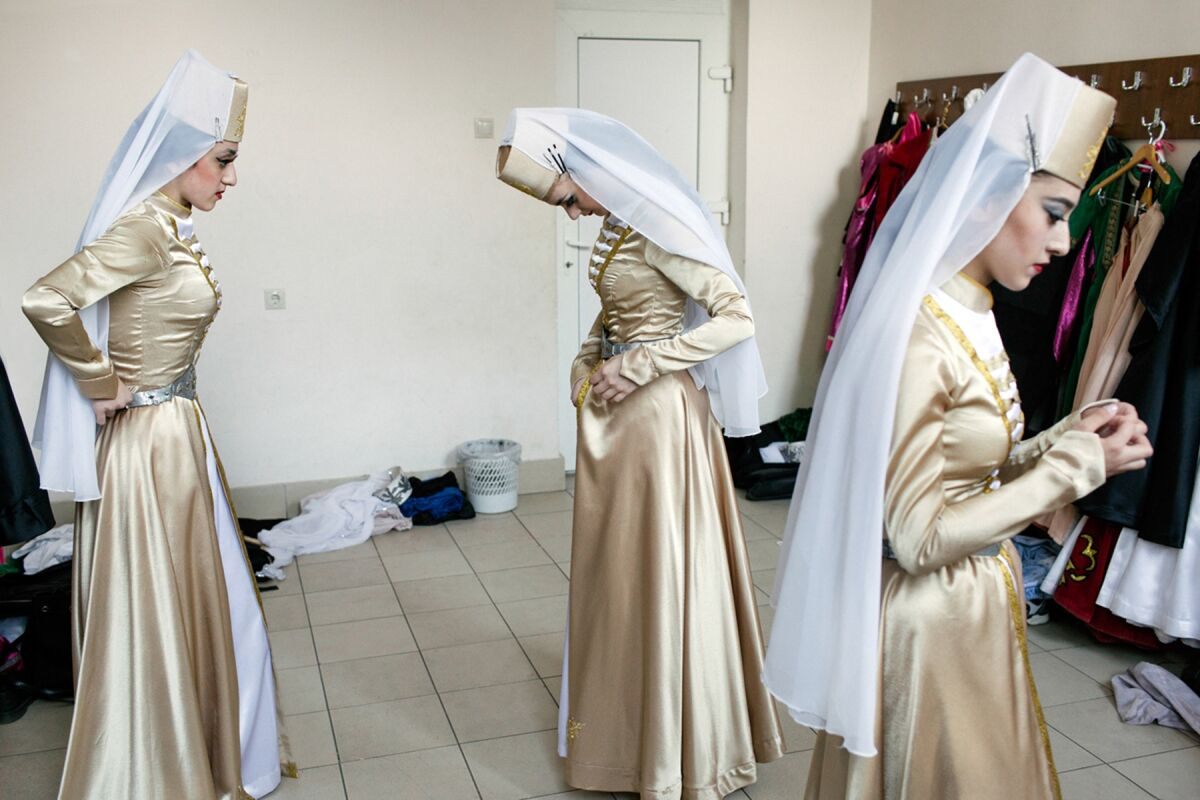 The National Dance Ensemble, just before a performance in Sukhum, Abkhazia, on May 17, 2016.  Photo by Ksenia Kuleshova. Courtesy of the artist.
