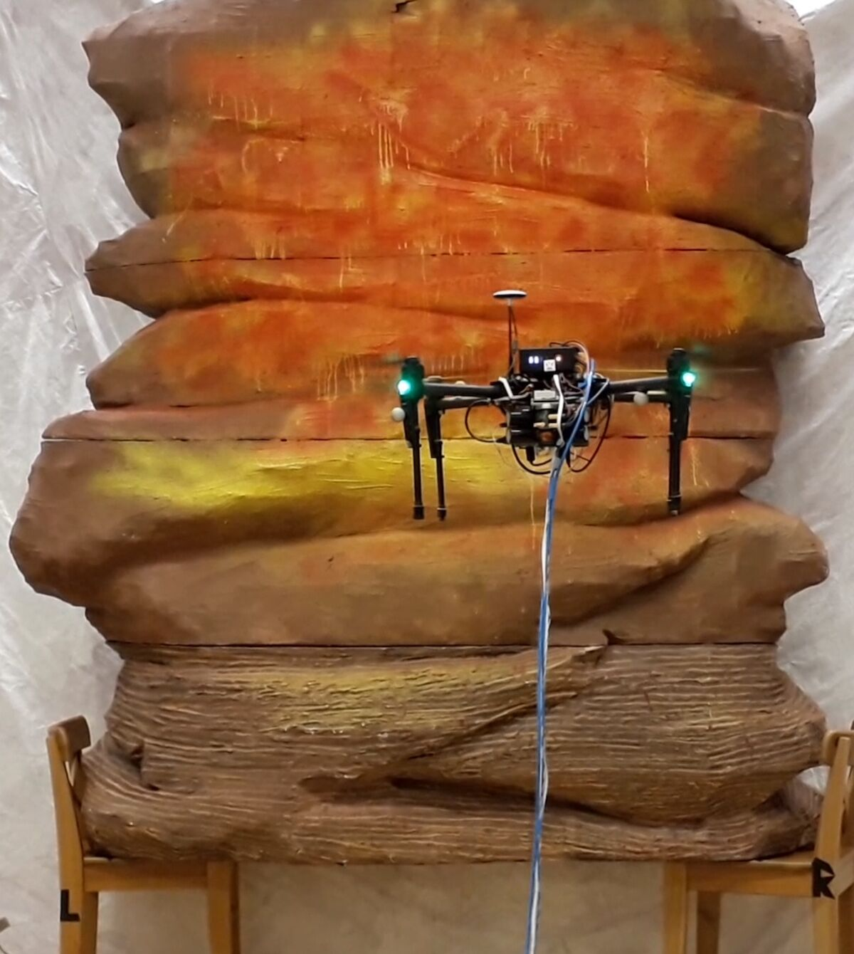 The Disney PaintCopter painting on a sculptural surface. Photo courtesy of Disney Research.