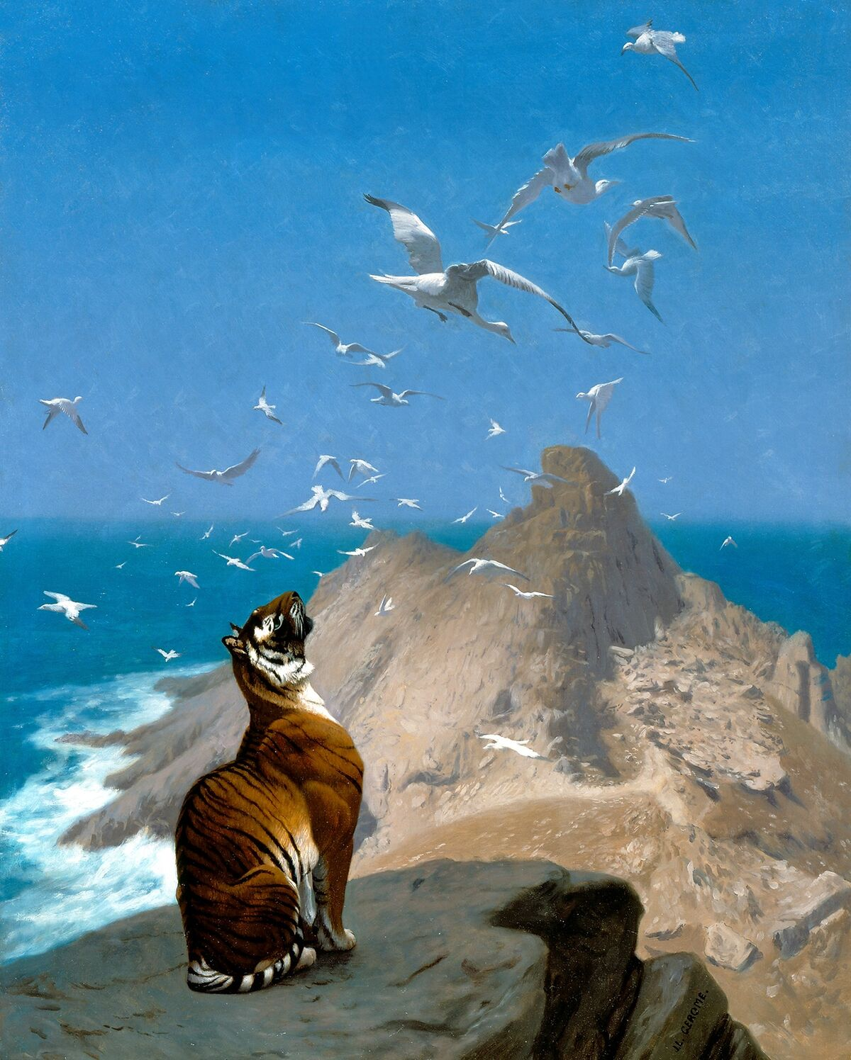 Jean-Leon Gerome, Tiger Observing Cranes, c. 1890. Courtesy of National Museum of Wildlife Art.