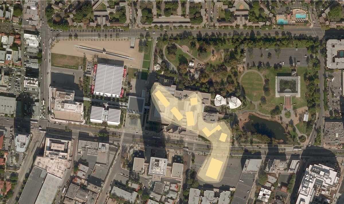 Building footprint spanning Wilshire Boulevard. Courtesy Atelier Peter Zumthor & Partner / LACMA.