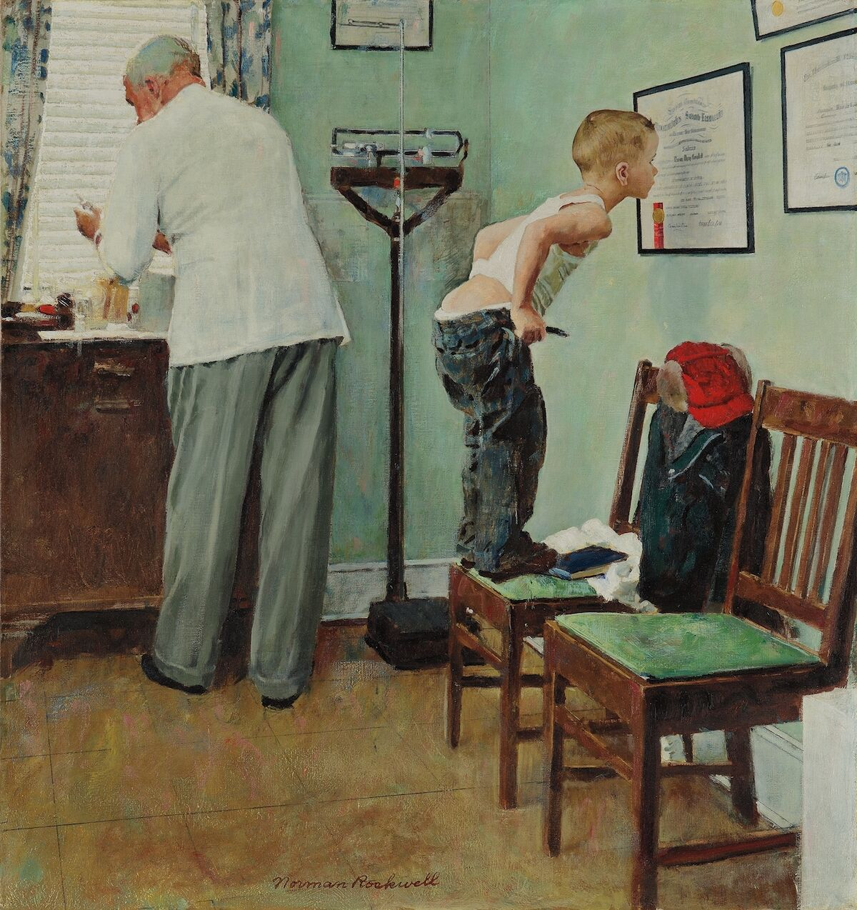 Norman Rockwell, Before the Shot, 1958. Sold for $4.7 million. Courtesy Phillips.