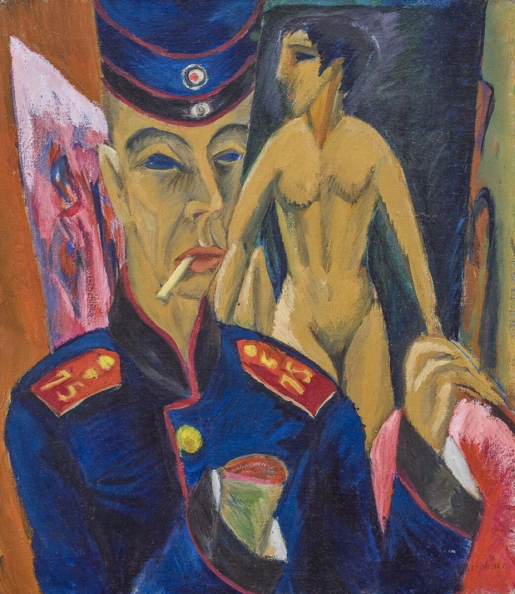 Ernst Ludwig Kirchner, Self-Portrait as a Soldier, 1915. Courtesy of the Allen Memorial Art Museum, Oberlin College.