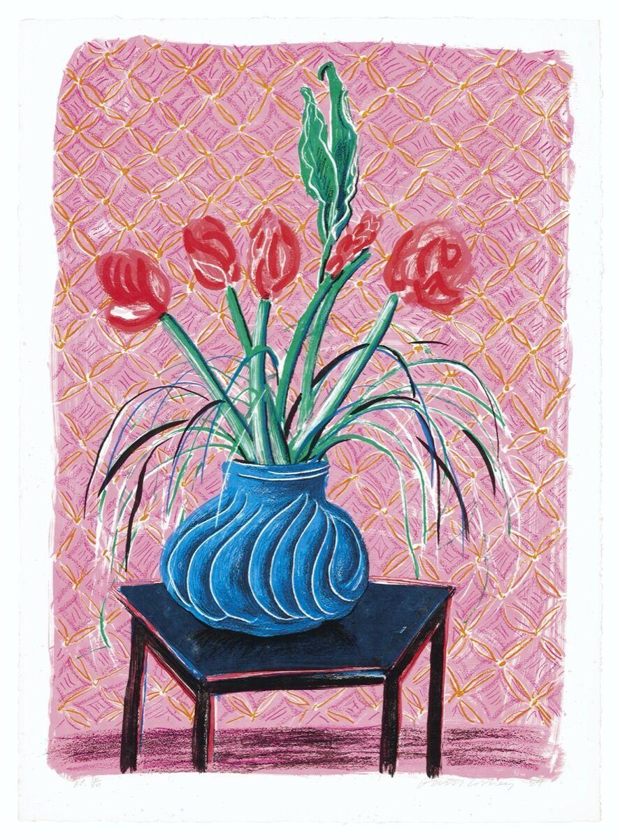 David Hockney, Amaryllis in Vase, from Moving Focus, 1985. Courtesy of Christie's.
