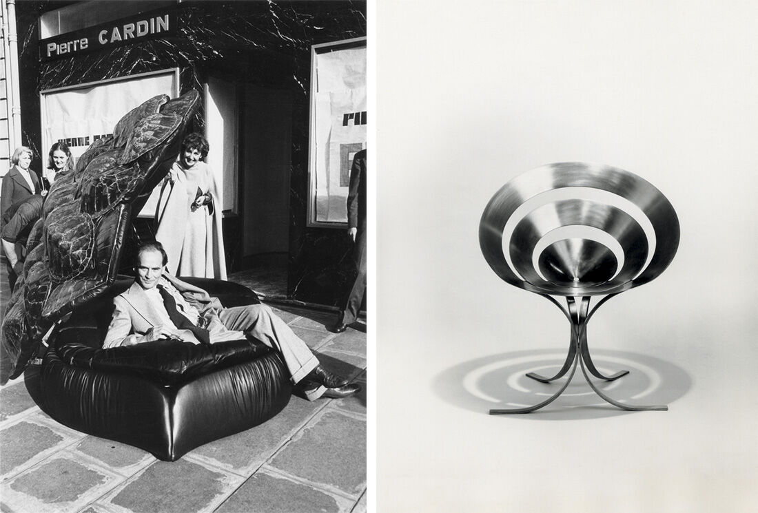 Left:Maria Pergay, Turtle Sofa, 1977. Commission for Pierre Cardin. Right:Maria Pergay, Ring Chair, 1968. Images Courtesy of Demisch Danant.