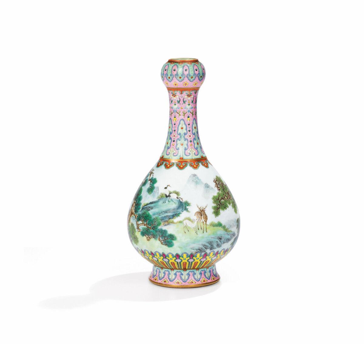 "18th-century Chinese ""Yangcai"" Famille-Rose porcelain vase. Courtesy of Sotheby's."