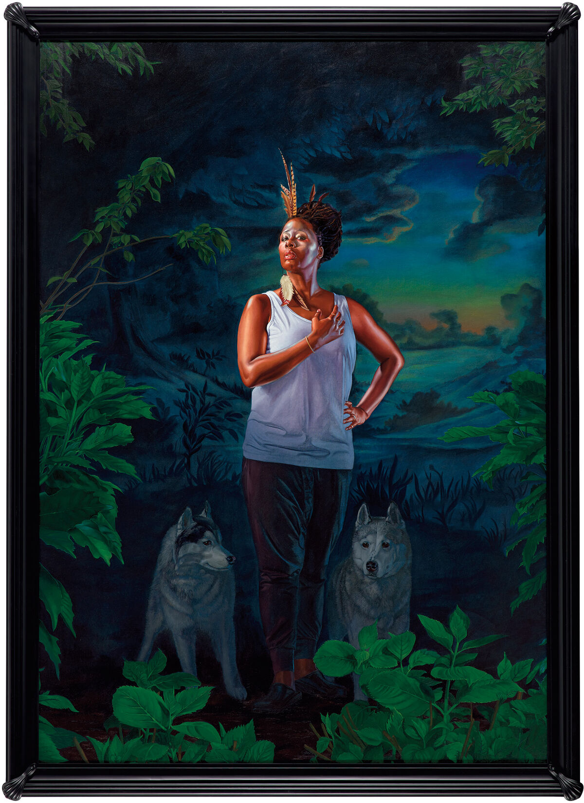 Kehinde Wiley, Portrait of Mickalene Thomas, the Coyote, 2017.  © Kehinde Wiley. Courtesy of the artist and Phillips.