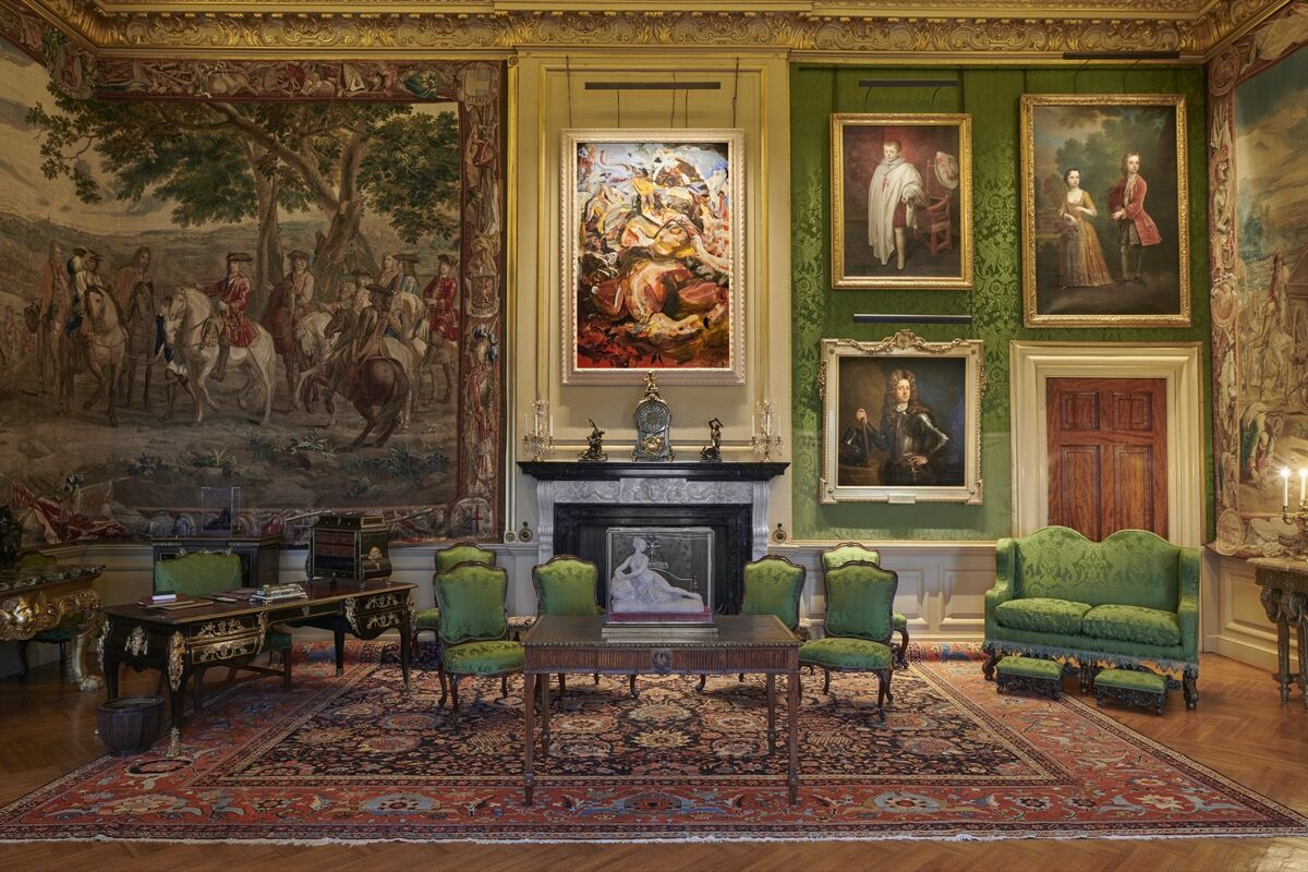 """Cecily Brown, installation view of Dog Is Life, 2019, in """"Cecily Brown at Blenheim Palace,"""" 2020. Photo by Tom Lindboe. Courtesy of Blenheim Art Foundation."""