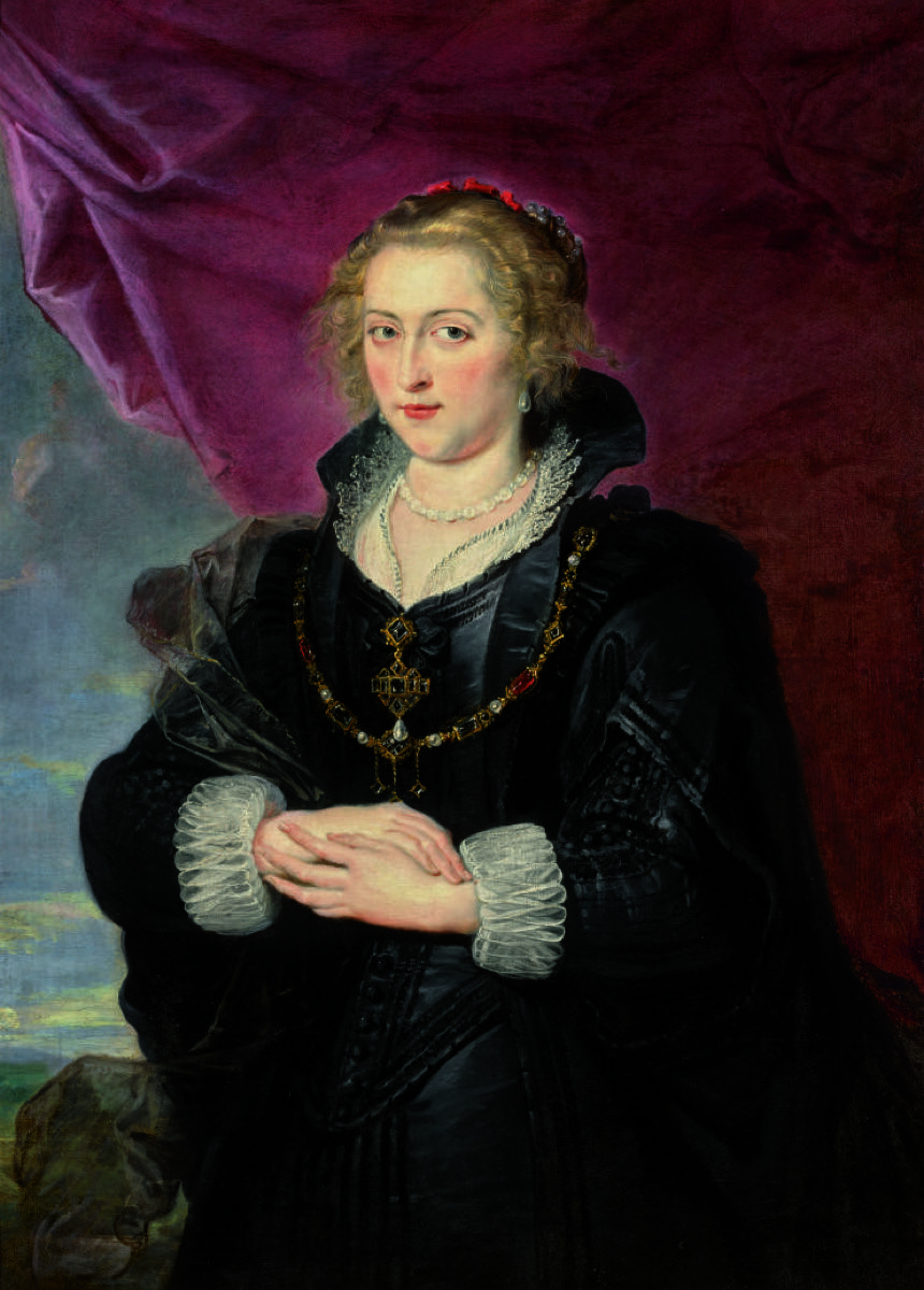 Sir Peter Paul Rubens, Portrait of a Lady, Three-Quarter Length, wearing an elaborate black dress and cloak, before a red drape and a distant landscape, n.d. Courtesy of Sotheby's.