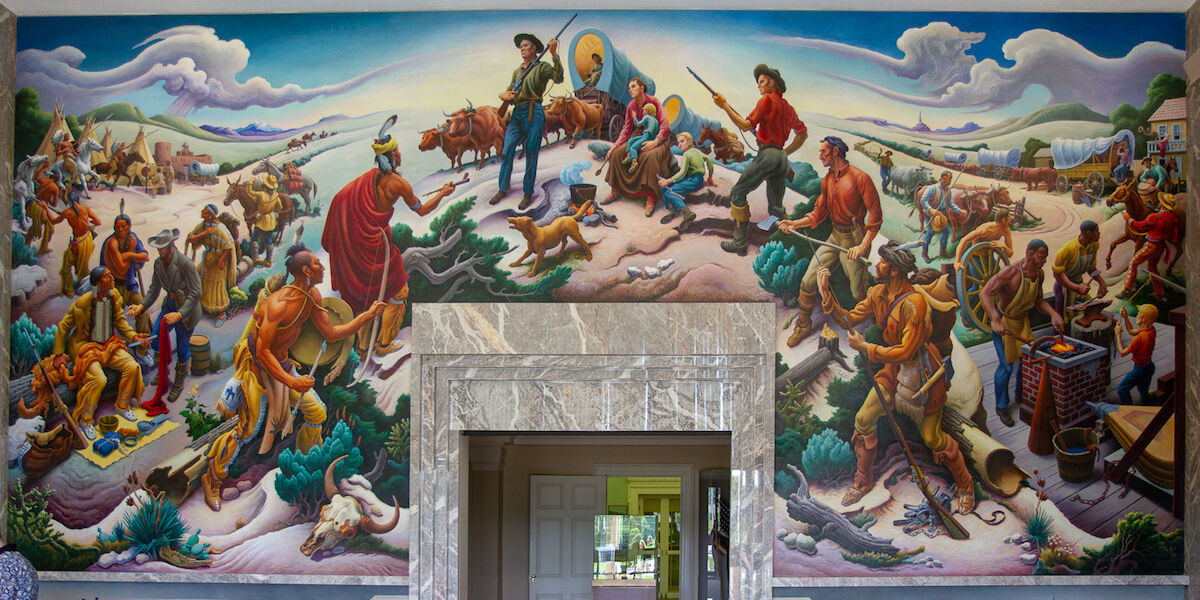 The Thomas Hart Benton mural Independence and the Opening of the West (1961) at the Harry S. Truman Library and Museum in Independence, Missouri. Photo by Arthur T. LaBar, via Flickr.