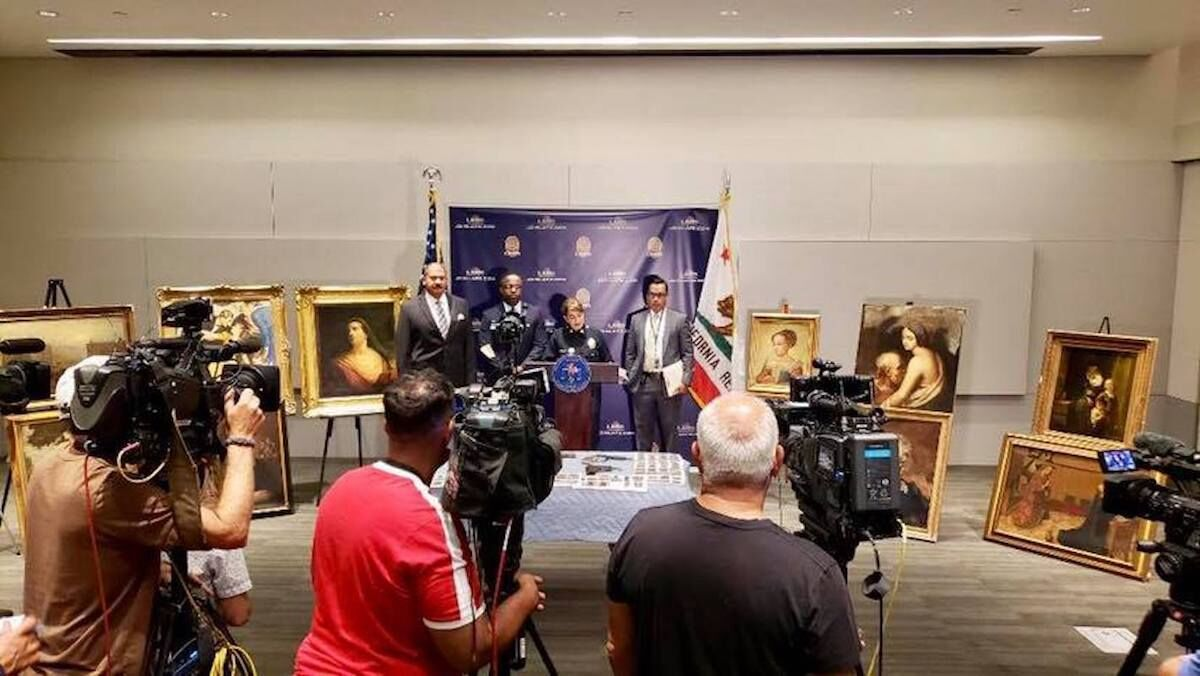 The Los Angeles Police Department held a press conference to showcase some of the seized artifacts. Photo courtesy the Los Angeles Police Department.