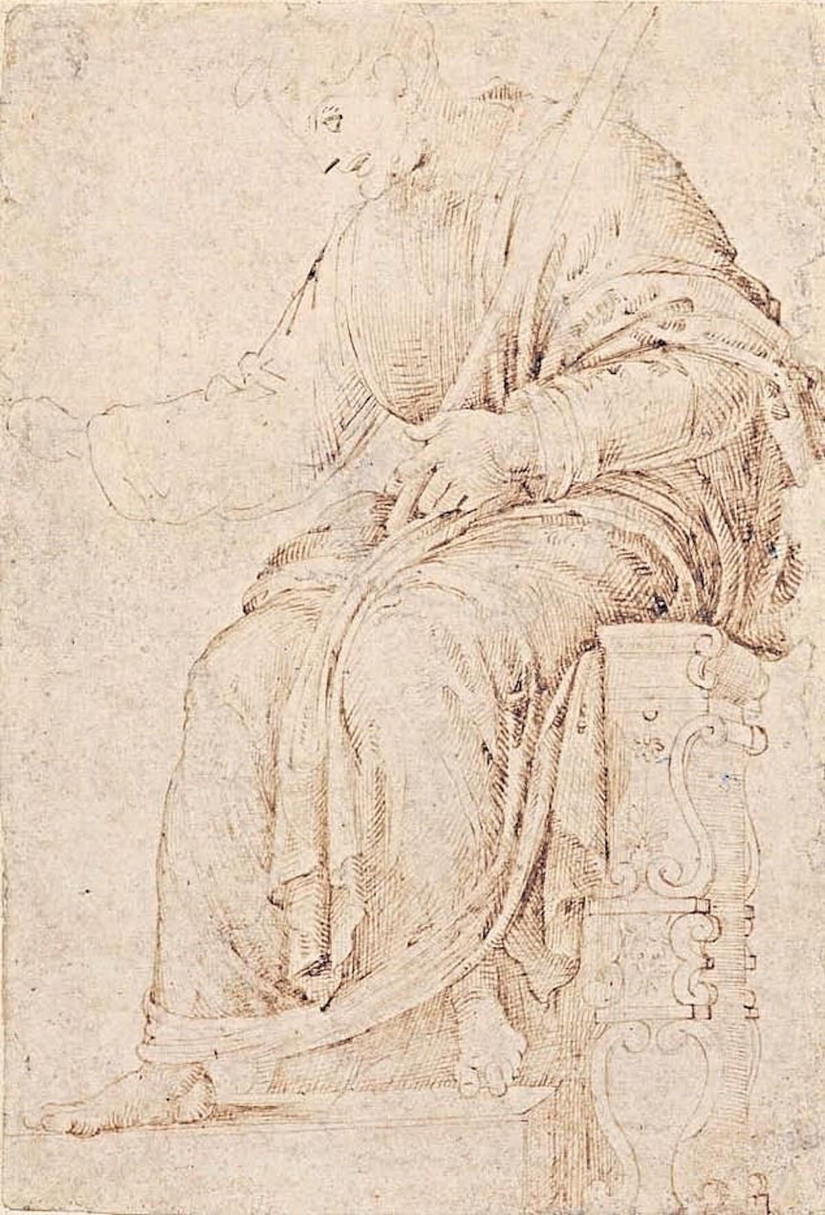 The Seated Man, ca. 1487, a drawing attributed to Michelangelo. Image courtesy the Museum of Fine Arts, Budapest.