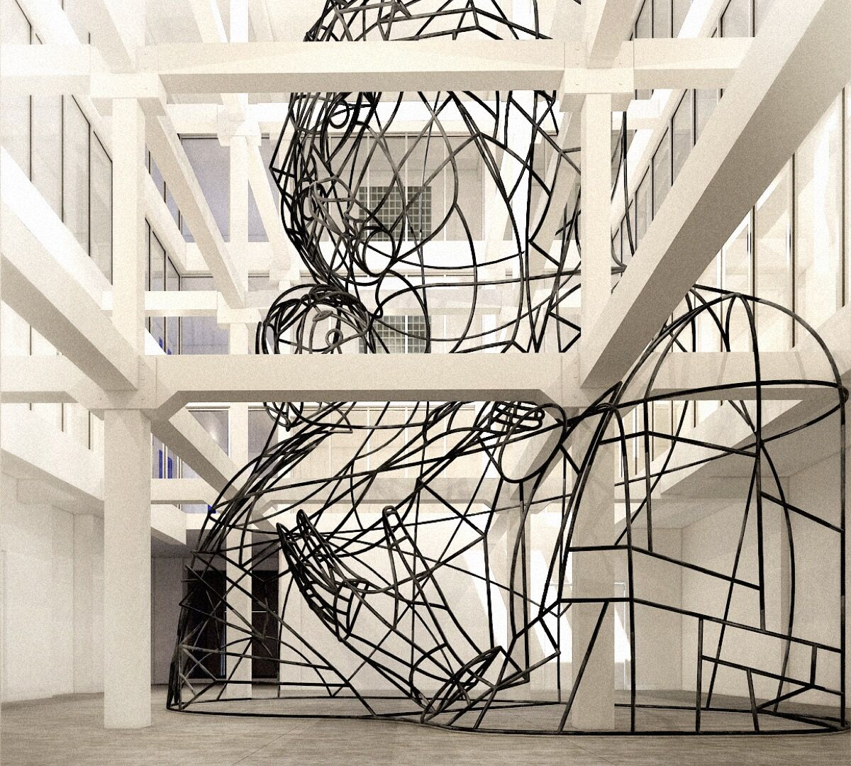 Installation view of Thomas Bayrle's Wire Madonna. Photo courtesy of ICA Miami.