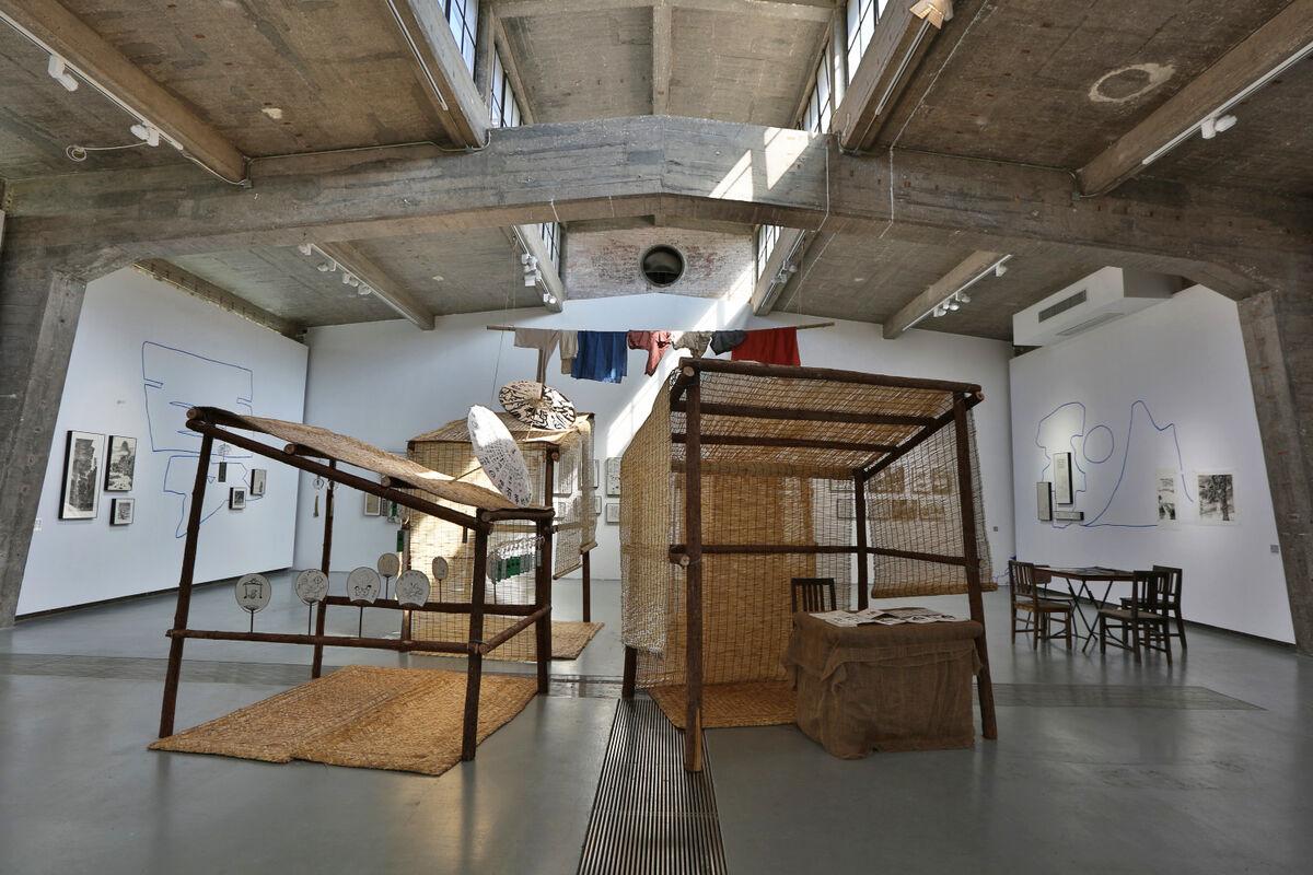 "Installation view of anusman, ""Market Street,"" at Tabula Rasa, 2019. Courtesy of Tabula Rasa."