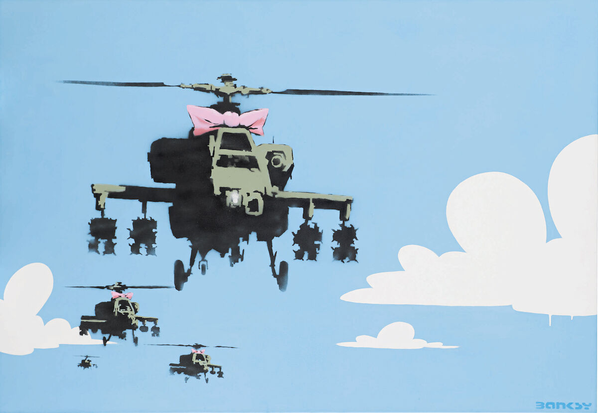 Banksy, Happy Choppers, dated 2006. Est. $400,000–600,000, sold for $735,000. Courtesy Sotheby's