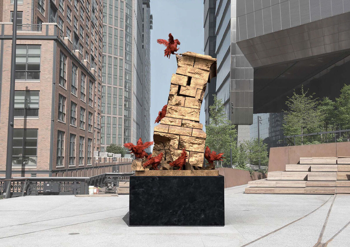 Mary Sibande, rendering of Old Wars are Out and a New Reason of Humanity is In. Courtesy the artist and High Line Art.