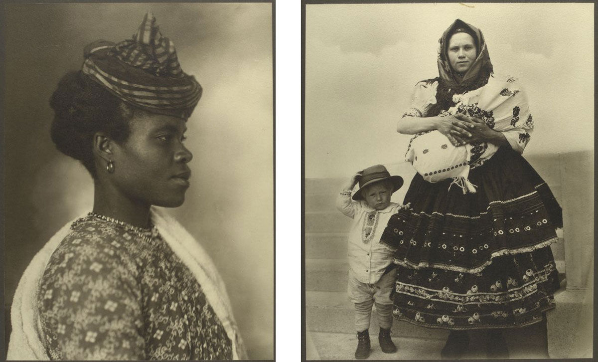 Left: Guadeloupean woman. Right: Slovak woman and children. Photographs by Augustus Sherman, via the NYPL Digital Collections.