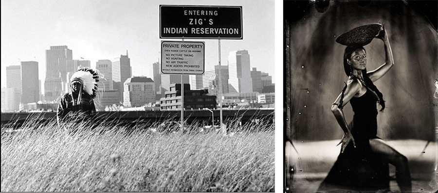 Left:Zig Jackson, Untitled (1998) from the series Entering Zig's Reservation. Courtesy of the artist. Right:Will Wilson. Talking Tintype: Rulan Tangen, Director, Dancing Earth, Contemporary Indigenous DanceCreations, 2014, from the series Critical Indigenous Photographic Exchange. Courtesy of the artist © Will Wilson.