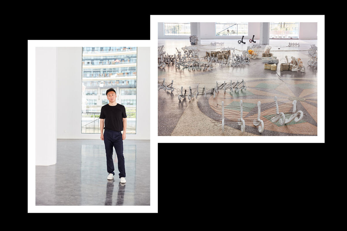 "From left: portrait of Simon Wang; installation view of Nancy Lupo, ""No Country for Old Men,"" at Antenna Space, 2018. Both courtesy of Antenna Space."