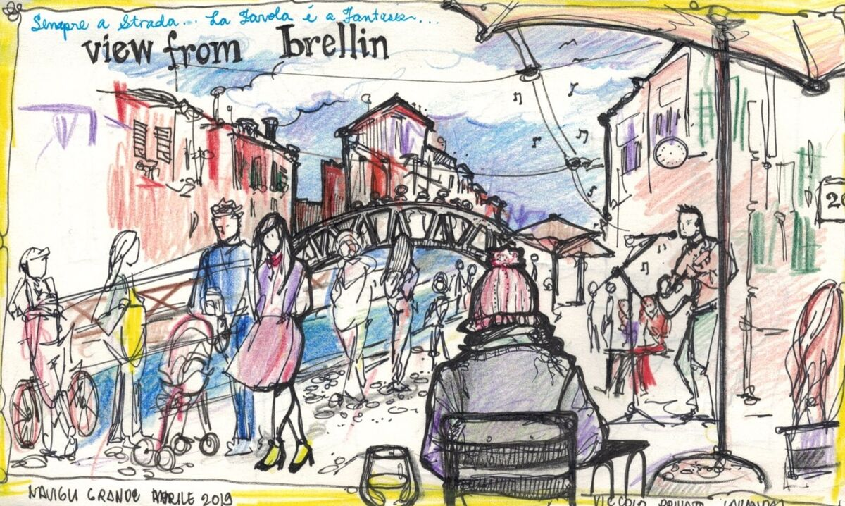 View from Brellin cafe, Milan. Sketch by Nikki Martinez. Courtesy of the artist.