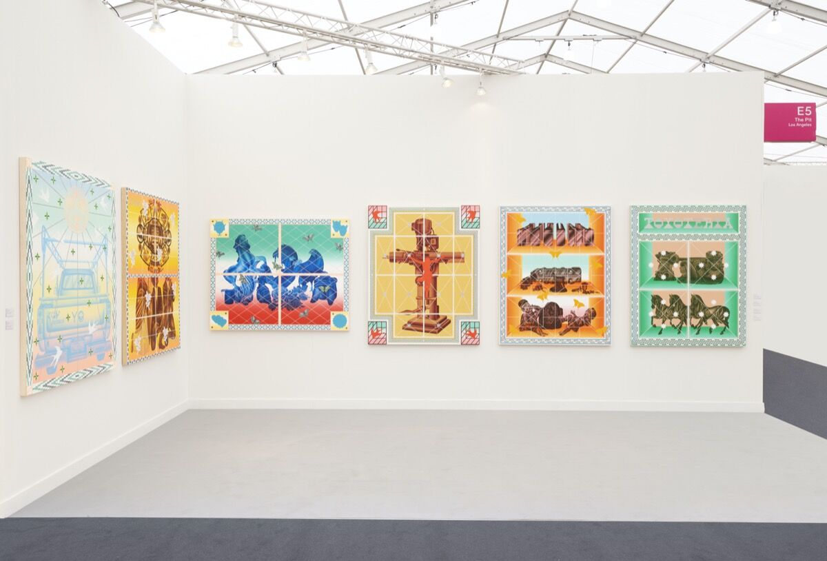 Installation view of The Pit's booth at Frieze Los Angeles, 2020. Photo by Casey Kelbaugh. Courtesy of The Pit.