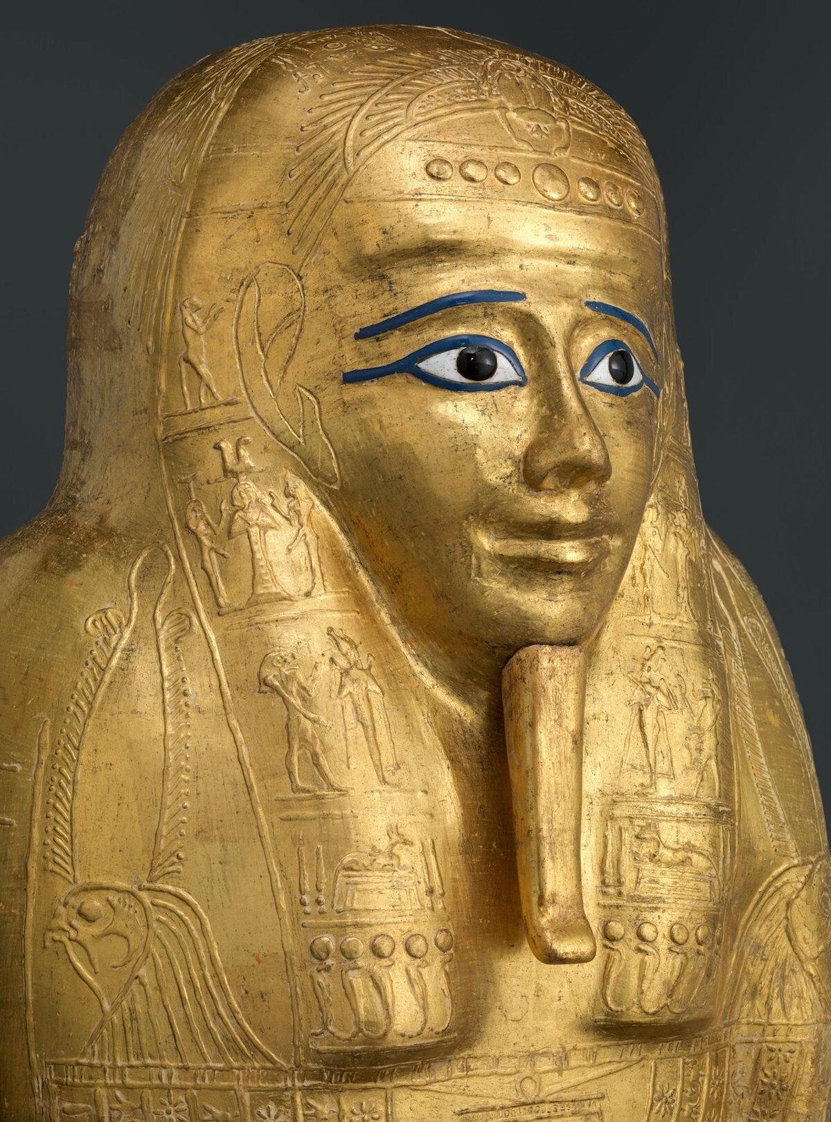 Gilded Coffin of the Priest Nedjemankh (detail), late Ptolemaic Period (150–50 B.C.E.). Courtesy the Metropolitan Museum of Art.