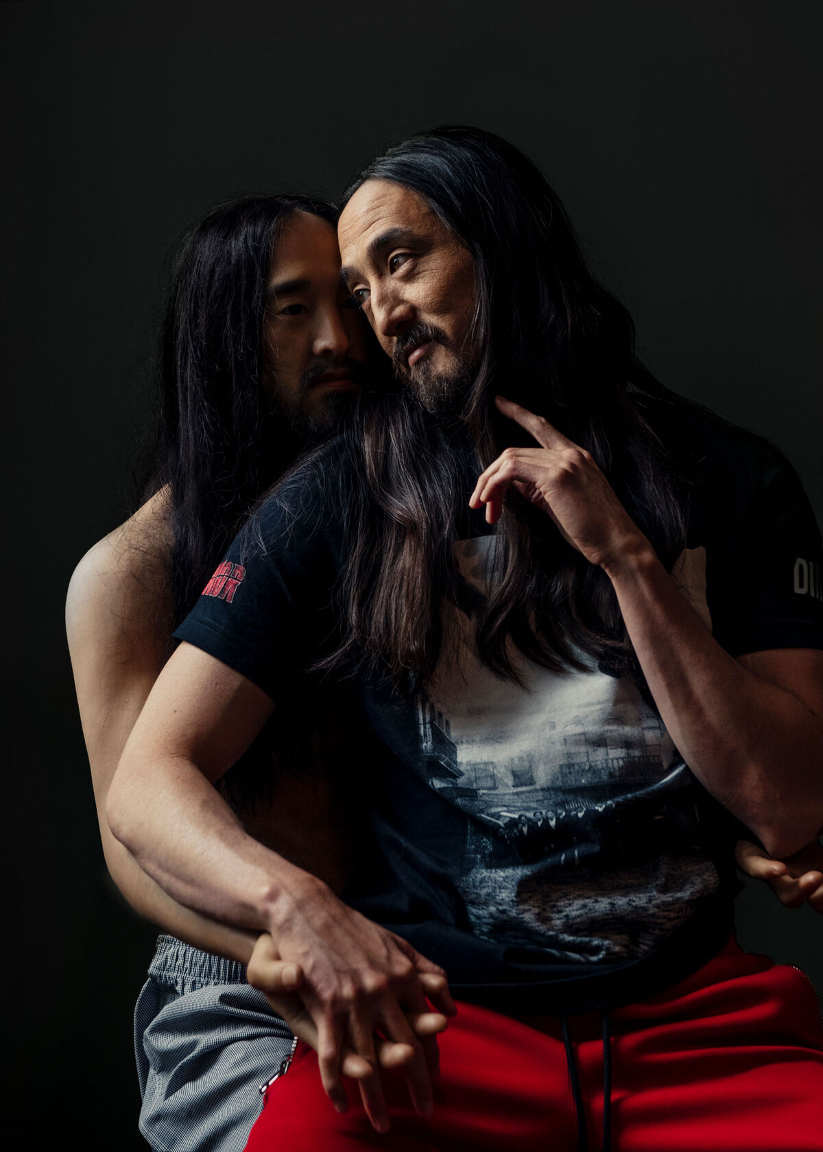 "This sculpture was made by My3DNA, a company that produced photorealistic statues and figurines. ""I was like, 'If we're going to do one, we're going to make a sitting Aoki, naked,'"" Aoki says. ""'It has to be naked so it has that high-art appeal.'"" His mother disagreed, so he had custom boxers made to partially cover the sculpture. Photo by Brian Guido for Artsy."