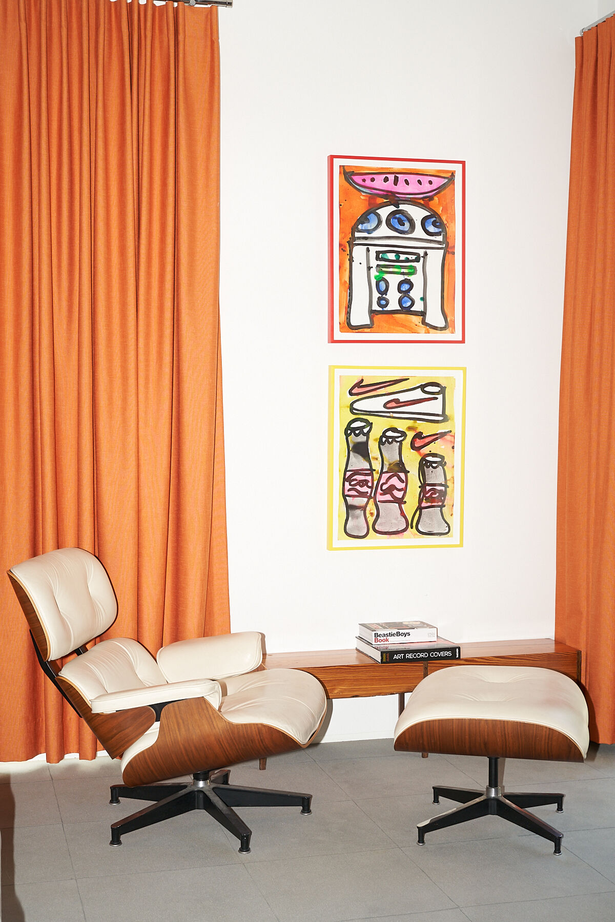Interior view of Joe and Kristen Cole's Dallas home featuring artwork by Katherine Bernhardt. Photo by Katy Shayne. Courtesy of Joe and Kristen Cole.