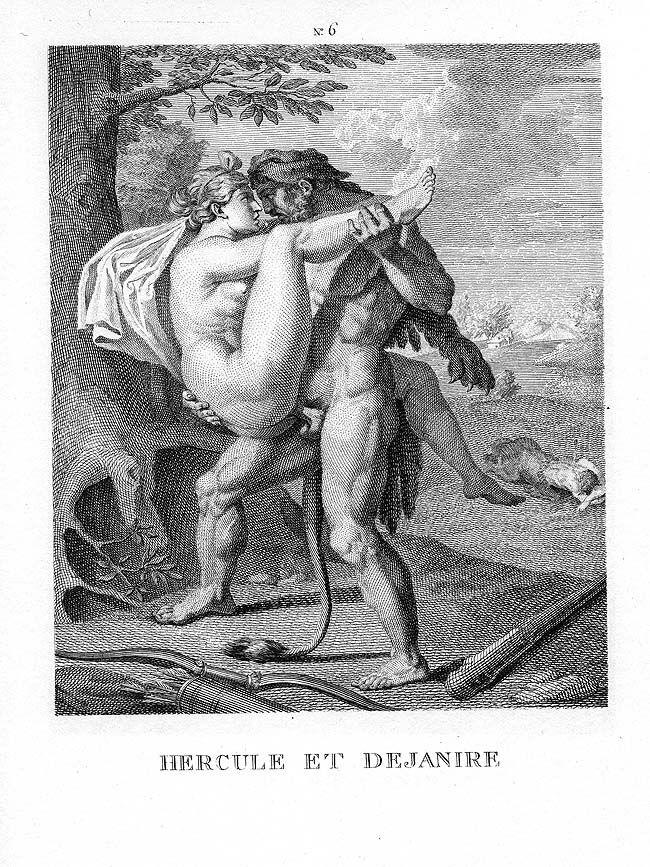 "Agostino Caracci, Hercules and Deianira, from ""I modi,"" 16th century. Image via Wikimedia Commons."