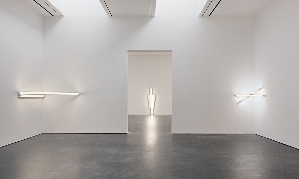 "Installation view of ""Dan Flavin: in daylight or cool white,"" at David Zwirner, New York, 2018. © 2018 Stephen Flavin/ Artists Rights Society (ARS), New York. Courtesy David Zwirner, New York/London/Hong Kong."