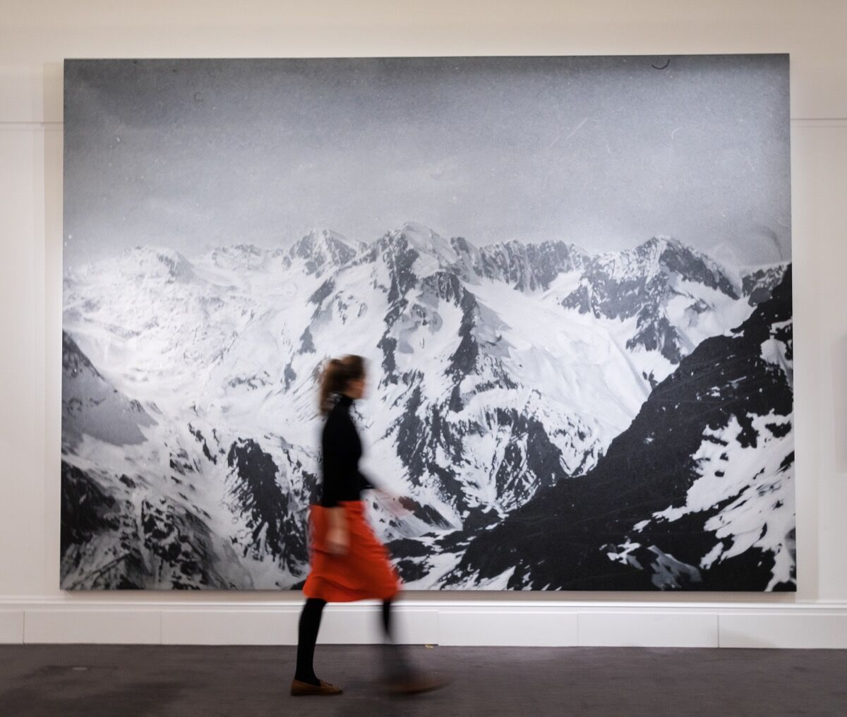 Rudolf Stingel's Untitled (2009) at a Sotheby's sale preview. Photo by Vickie Flores / In Pictures via Getty Images.