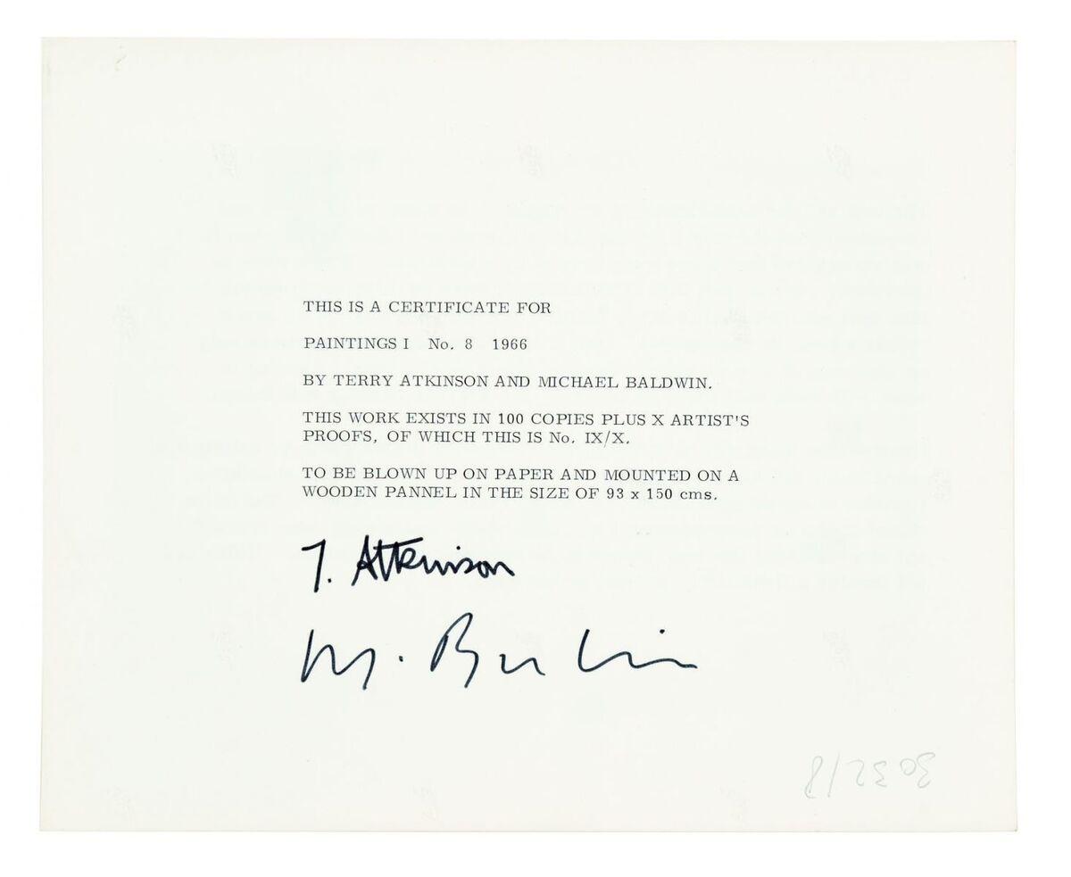 ART & LANGUAGE, Painting 1, No. 8, 1966, Verso of certificate, Silver Gelatin Print, Image courtesy of Art & Language
