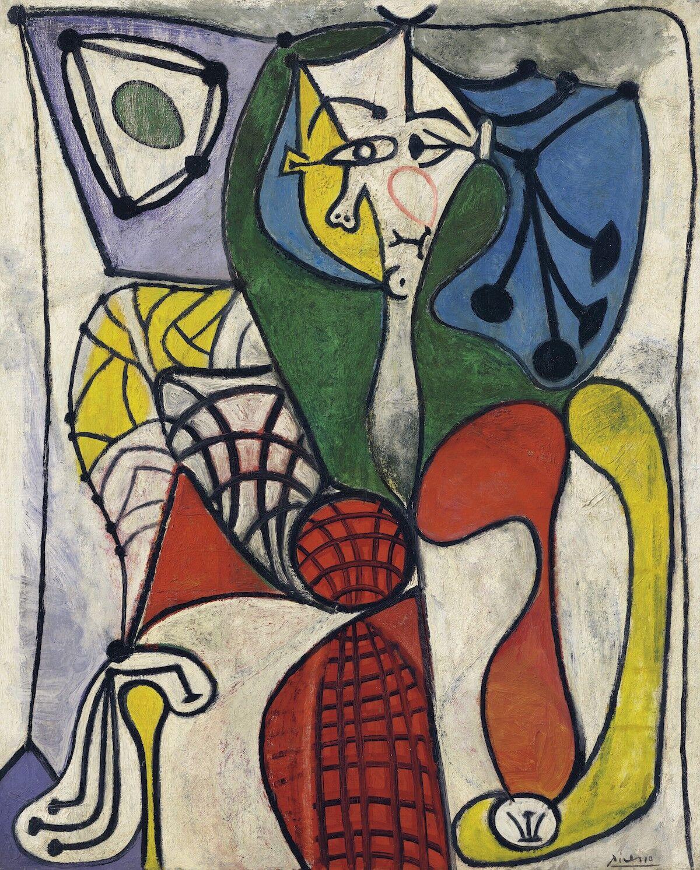 Pablo Picasso, Femme dans un fauteuil (Françoise), 1948–49. Sold for $13.3 million. Courtesy Christie's Images Ltd.