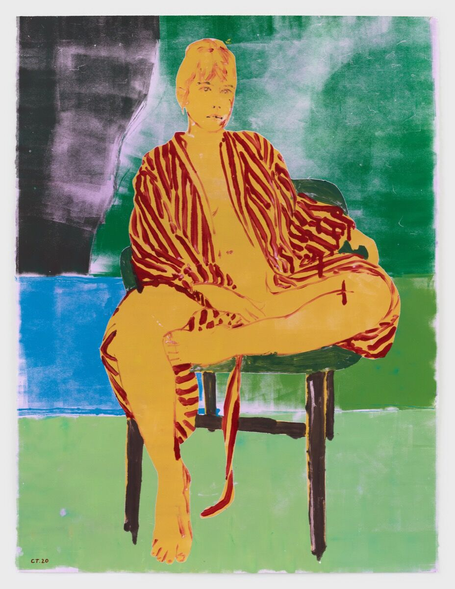 Claire Tabouret, Self-Portrait in a Robe (Green), 2020. Photo by Marten Elder. Courtesy of the artist and Perrotin.