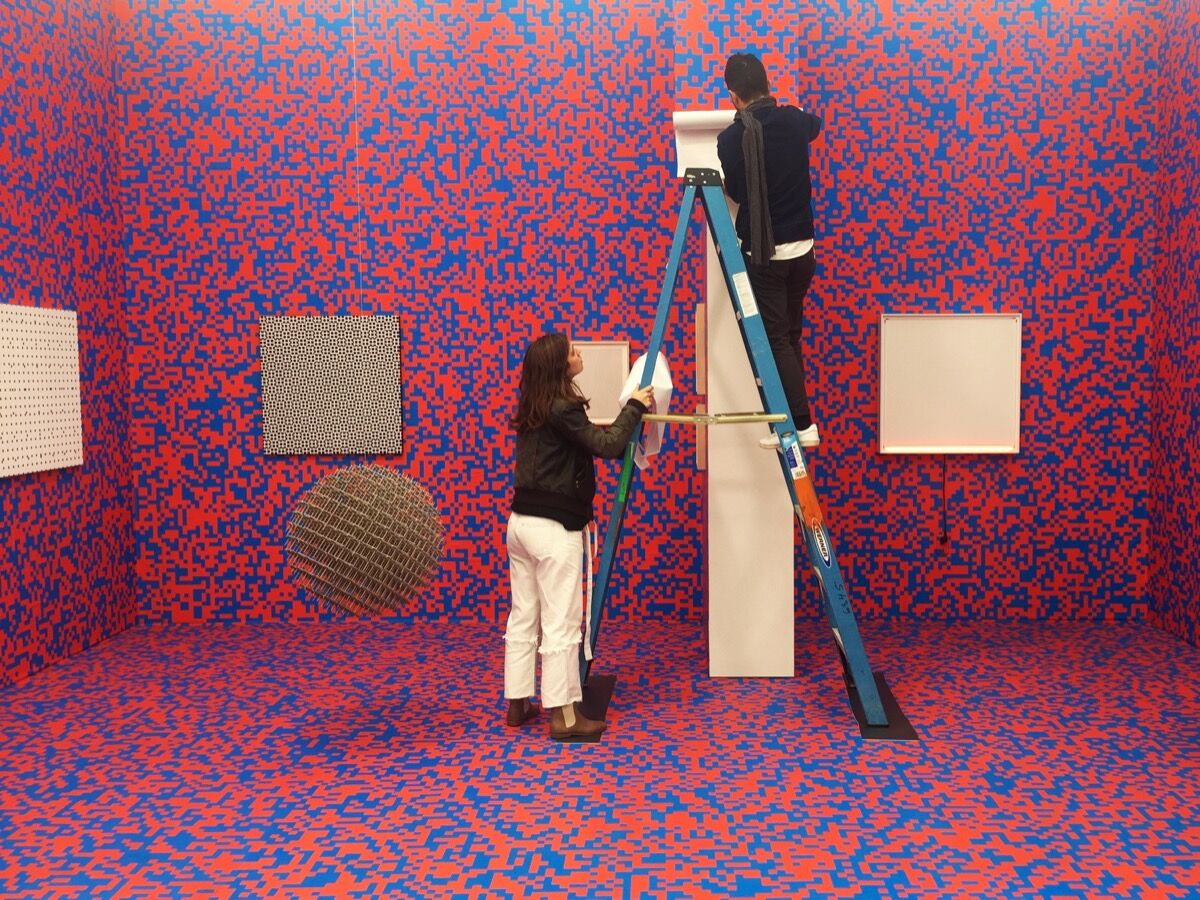 Installation view of work by François Morellet at Galerie Hervé Bize's booth at Frieze New York, 2016. Photo by Irina Arellano-Weiss. Courtesy of Irina Arellano-Weiss and Art Handler.