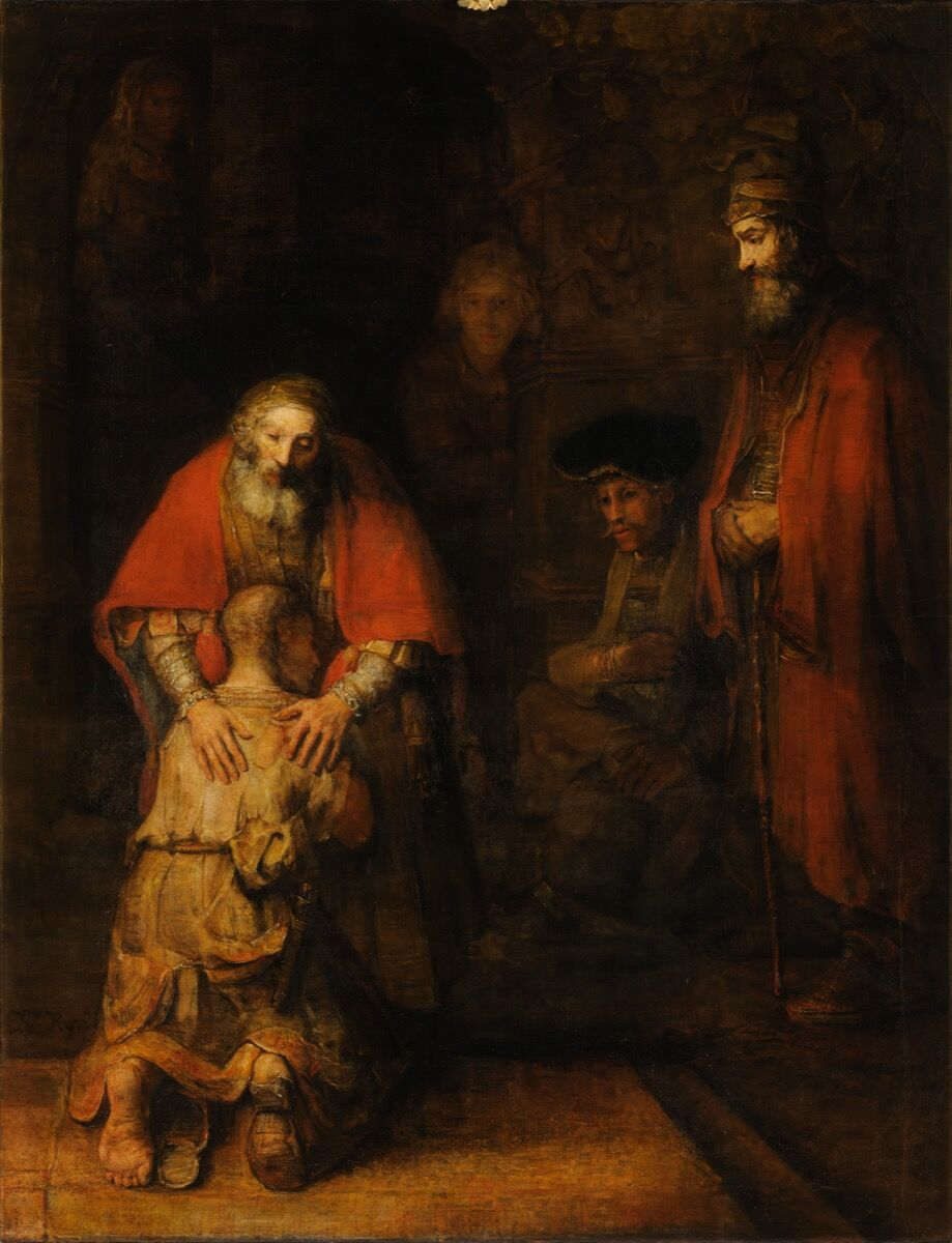 Rembrandt van Rijn, Return of the Prodigal Son, 1668. Photo via Wikimedia Commons.
