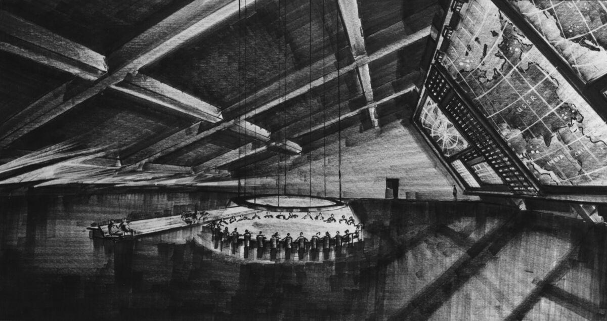 Design for the set of Dr. Strangelove. Courtesy of London's Design Museum.