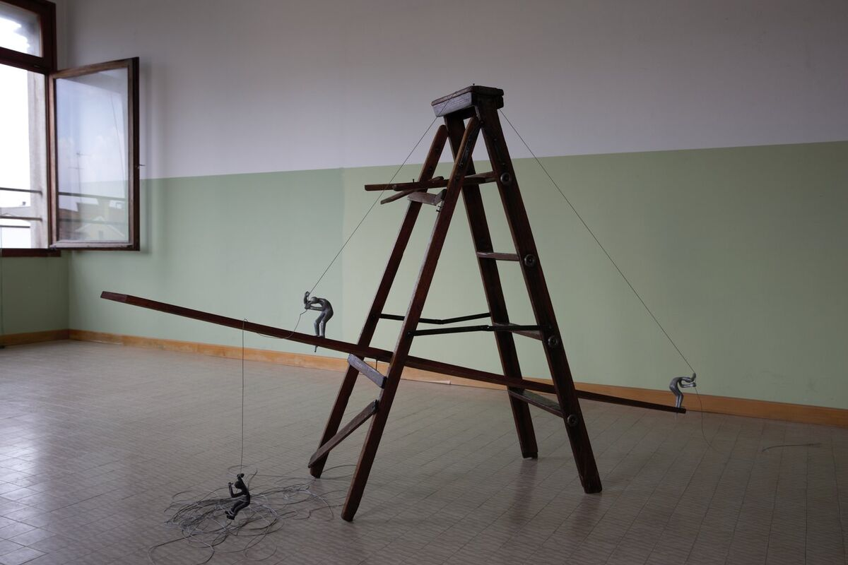 Installation view of Arlene Wandera, On the Ladder, for the Kenya National Pavilion at the 57th Venice Biennale, 2017. Courtesy of Zuecca Project Space.