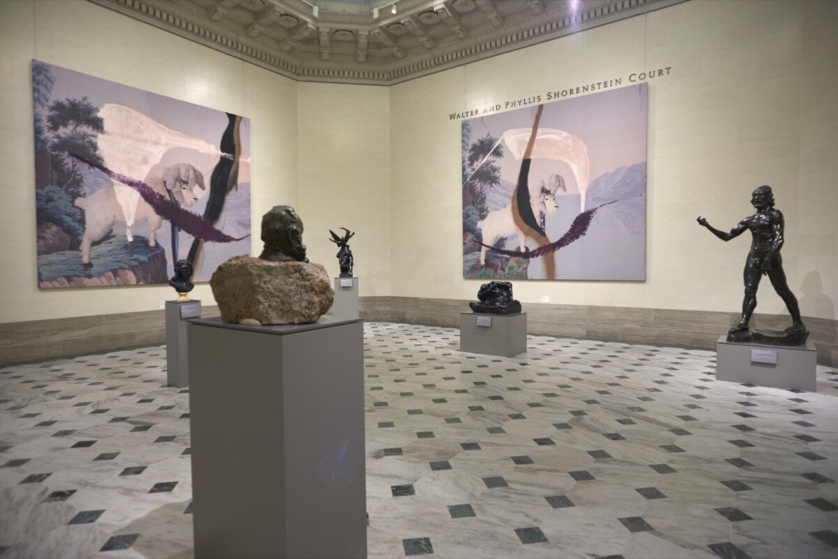 """Installation view of """"Julian Schnabel: Symbols of Actual Life,"""" at the Legion of Honor, San Francisco, 2018. Photo by Moanalani Jeffrey. Courtesy of the Fine Arts Museums of San Francisco."""
