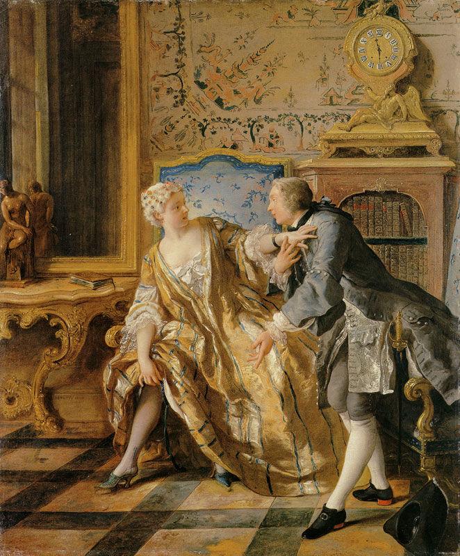 Jean François de Troy, The Garter, 1724. Image via Wikimedia Commons.