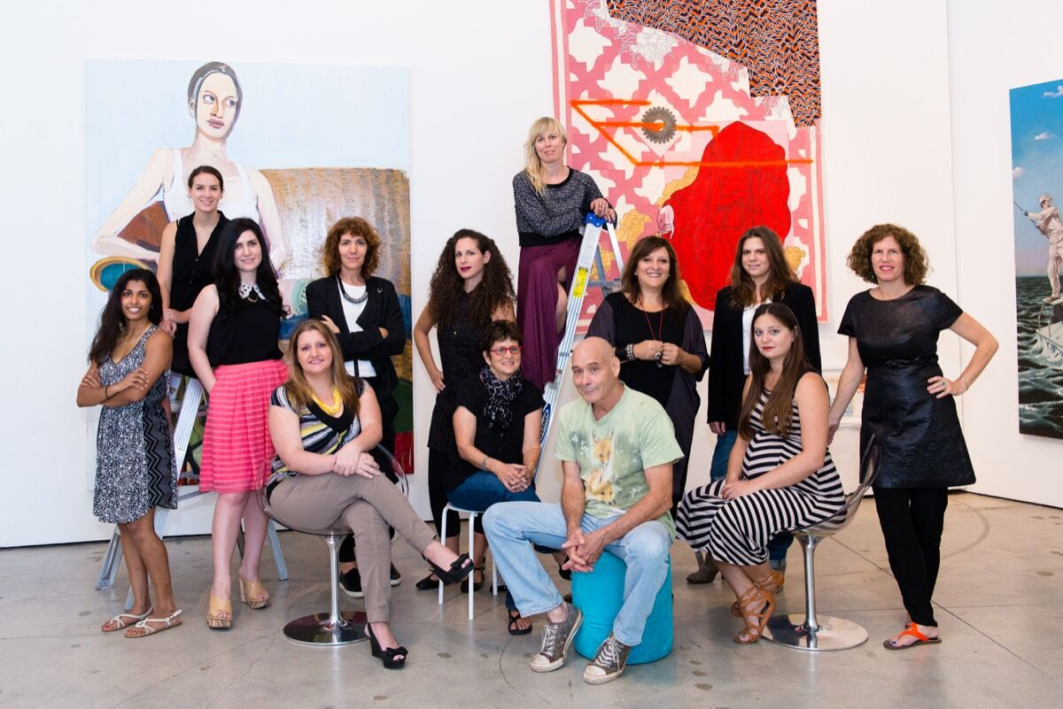 From left to right standing: fellow Erica Mohan, intern Dara Katzenstein, gallery director Sarah Michelle Rupert, artists Marina Font, Jill Weisberg, Jenny Larsson, Amalia Caputo, Natalya Laskis and creative director Michelle Weinberg; left to right seated: writer in residence Laura McDermott, founder Francie Bishop Good, artist David Rohn and Leah Brown. Photo by Teodora Dakova.