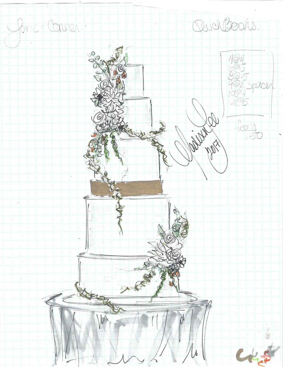 Wedding cake sketch by Madison Lee. Courtesy of Madison Lee's Cakes.