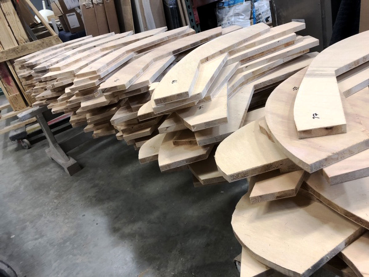 Pieces of plywood for Mariposita, 2019. Courtesy of Chris Carnabuci.