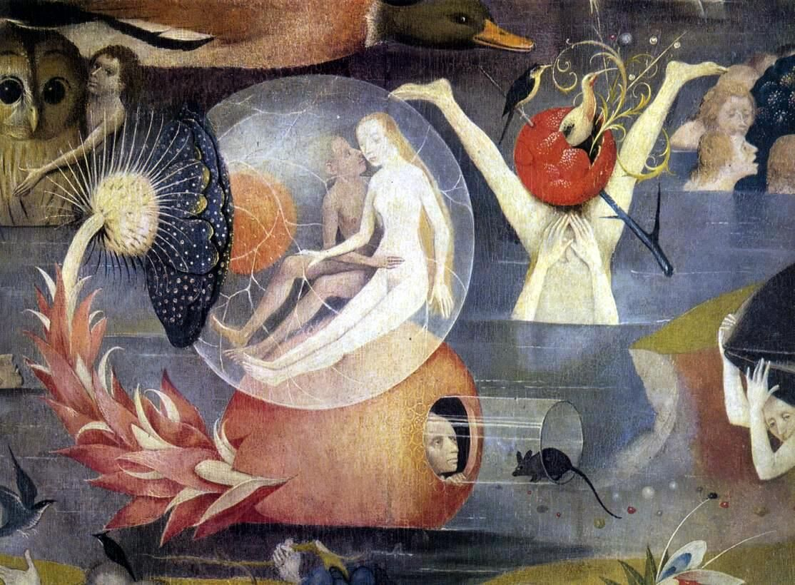 Detail of the central panel of Hieronymus Bosch, The Garden of Earthly Delights , 1490-1500. Image via Wikimedia Commons.