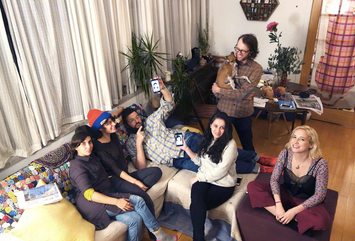 Some of the members of Regina Rex Gallery holding a meeting, Bushwick, Brooklyn, 2015.