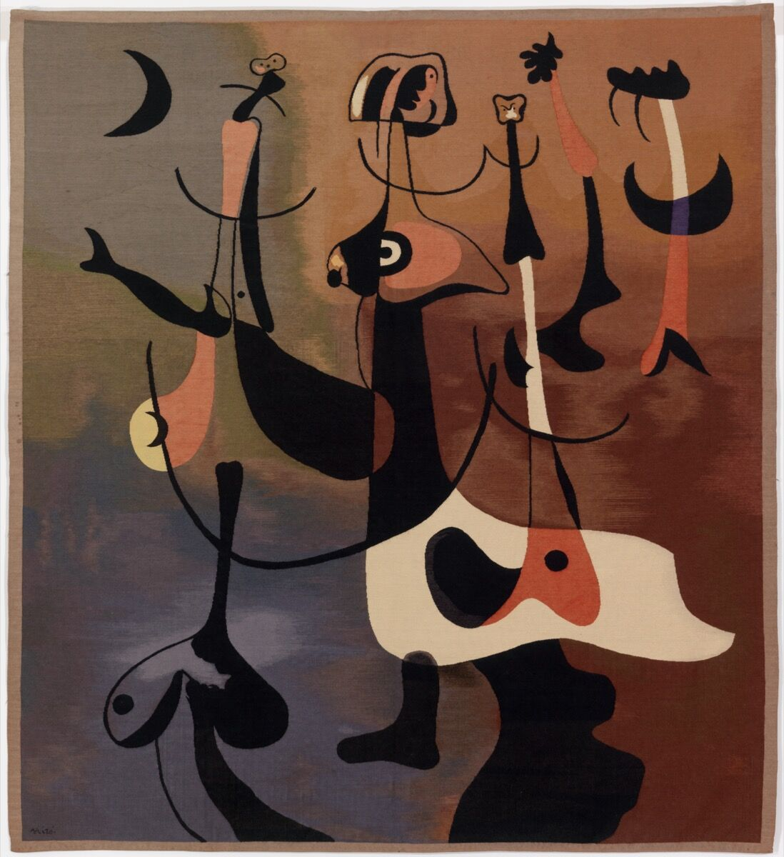 Joan Miró, Rhythmic Figures (Personnages rythmiques) , or Woman and Birds , 1934. Cotton and wool with silk. © Successió Miró / Artists Rights Society (ARS), New York / ADAGP, Paris 2019. Courtesy of the Barnes Foundation, Philadelphia.