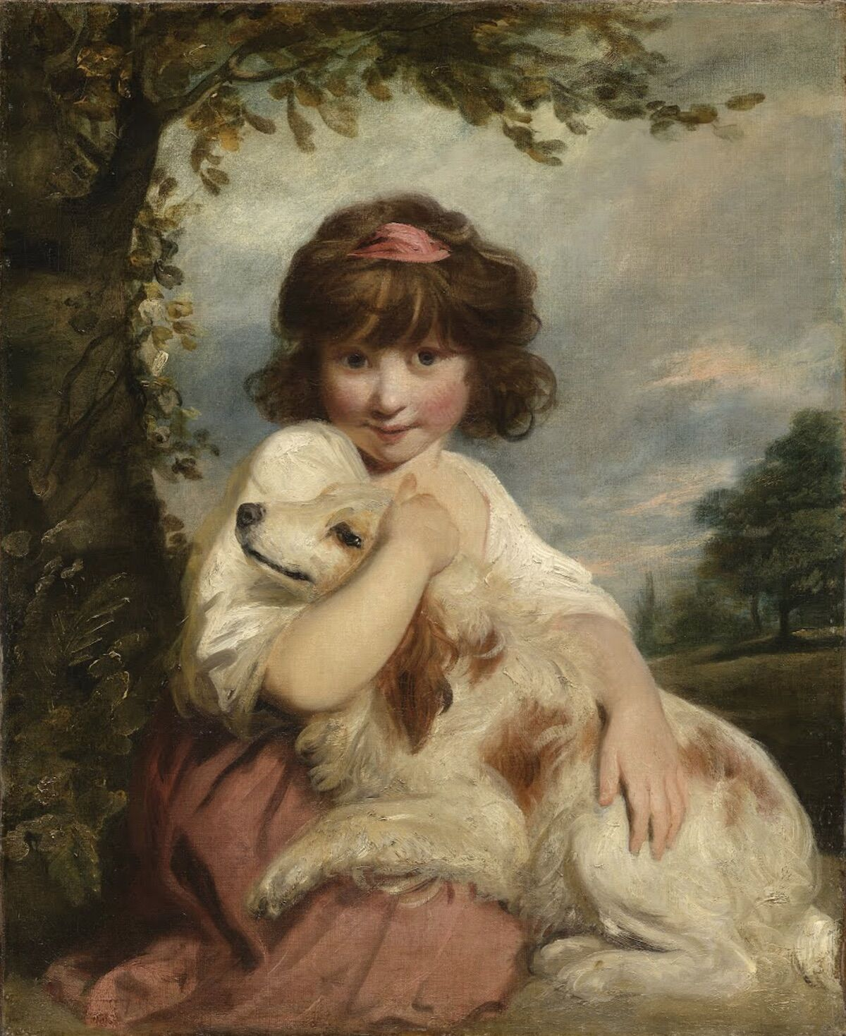 Joshua Reynolds, The portrait of Miss Mathew, later Lady Elizabeth Mathew, sitting with her dog before a landscape, 1780. Courtesy Art Recovery International.