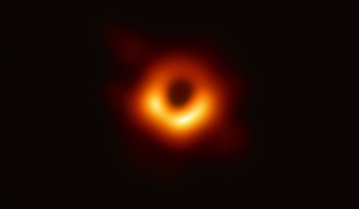 Using the Event Horizon Telescope, scientists obtained an image of the black hole at the center of galaxy M87, outlined by emission from hot gas swirling around it under the influence of strong gravity near its event horizon. Image courtesy Event Horizon Telescope collaboration et al.