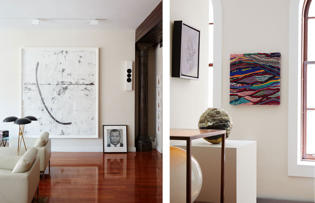 Artwork by Tony Lewis and Derrick Adams, floor light by Gerald Thurston | Artwork by Kevin Beasley, Jayson Musson, and Lynette Yiadom-Boakye. Photos by Emily Johnston for Artsy.
